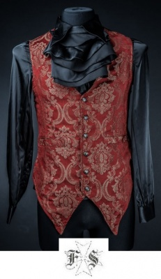 GILET ROSSO DAMASCATO